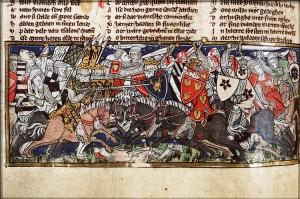 Battaglia dei Campi Catalaunici, manoscritto del XIV secolo, Biblioteca Nazionale Olandese