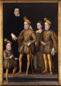 Caterina de Medici in abiti vedovili e i figli, 1561 circa