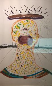 Salvador Dalì, disegno surrealista, foto scattata alla mostra Dalì Experience di Bologna