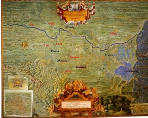Il corso del Po nel 1585 (fonte Wikipedia)