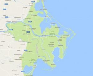 Parco del Delta del Po, mappa (Google)