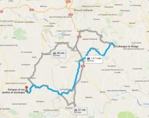 Da Collonges la Rouge ai Giardini di Eyrignac, mappa (fonte Google Maps)