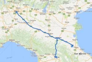 Mappa luoghi di Caterina Sforza (prodotto con Google Maps)