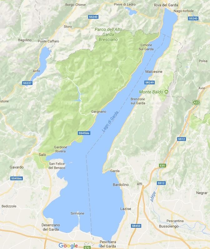 Cartina Fisica Lago Di Garda.Lago Di Garda Mappa Da Google Esperienziando Vitae