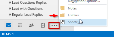 Outlook Navigation Folder View