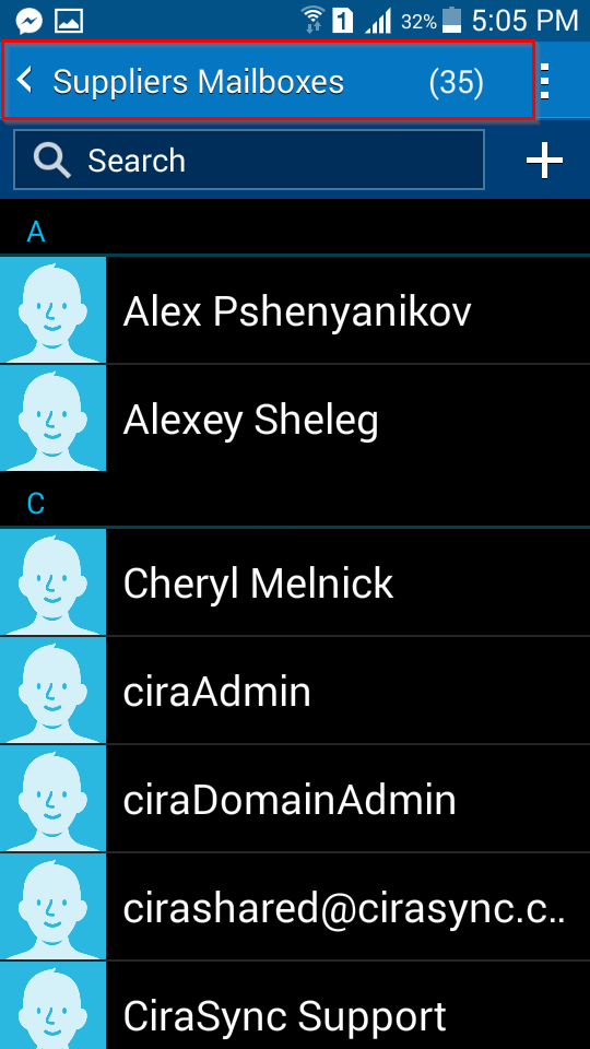 View synced GAL contacts on an Android