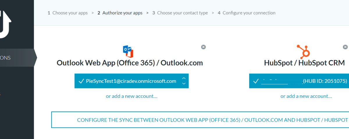 Sync from HubSpot Office 365 PieSync
