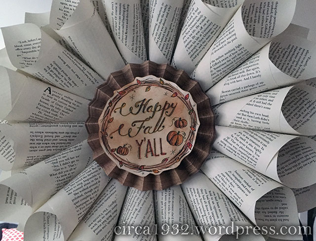 fall bookpage wreath DIY