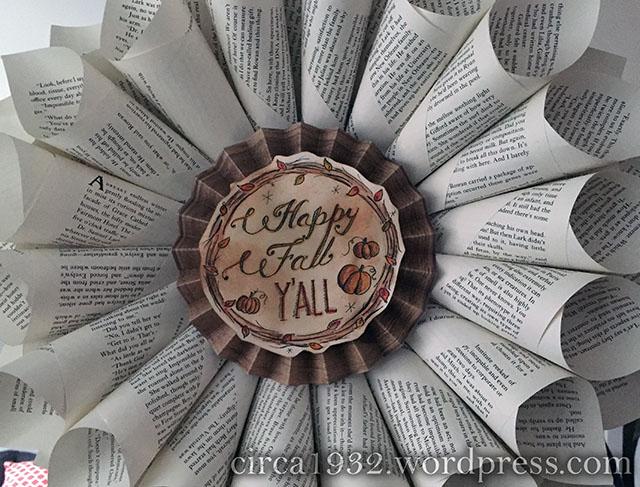 fall bookpage wreath DIY