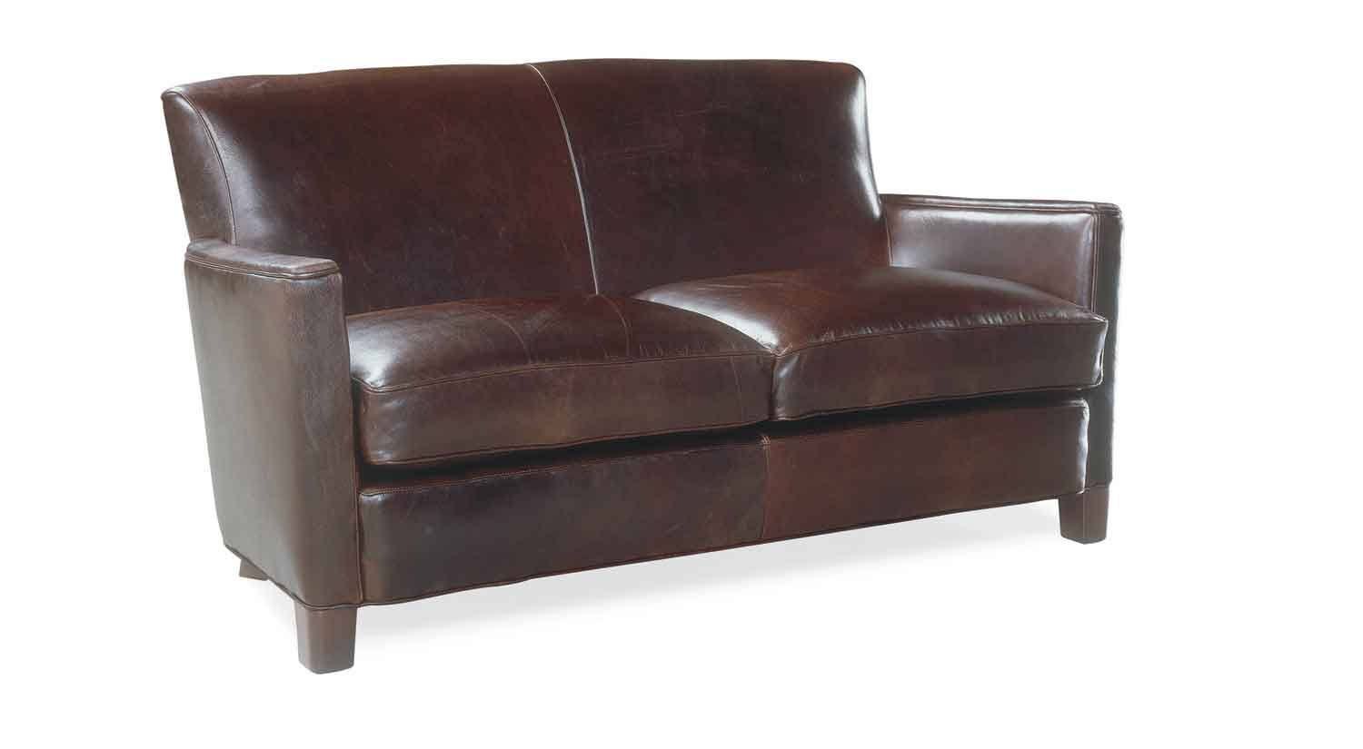 Brown Leather Circle Ottoman