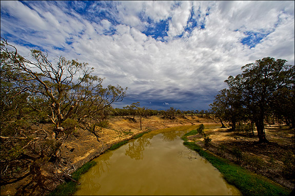 Winding across 400 miles of South Eastern Australia's dry landscape, the Murray-Darling river system struggles to sustain much of the country's agriculture. Due to the effects of drought and man, the Wakool River near Swan Hill no longer tops its banks (J. Carl Ganter/Circle of Blue).