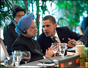 Indian Prime Minister Manmohan Singh with Barack Obama earlier this year.