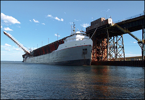 Vessel at ore dock during loading, in Marquette, Mi.
