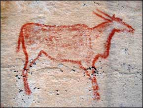 This rock art depicts an Eland, a savannah and plains antelope found in East and Southern Africa.