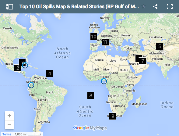 Interactive Map Top Ten Global Oil Spills Circle Of Blue - Aquifer oil pollution us map