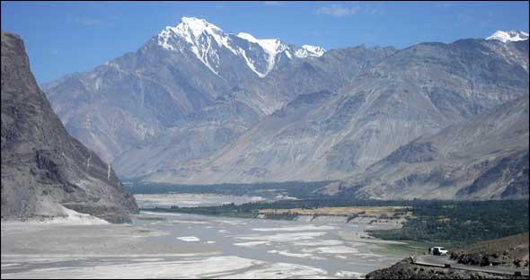 The Indus Valley near Skardu, Pakistan. The Indus is one of the three western rivers granted to Pakistan under the Indus Waters Treaty.