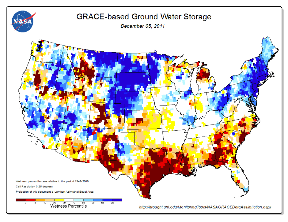 Map NASA Shows Big Dip In US Groundwater Regionally Especially - Big us map