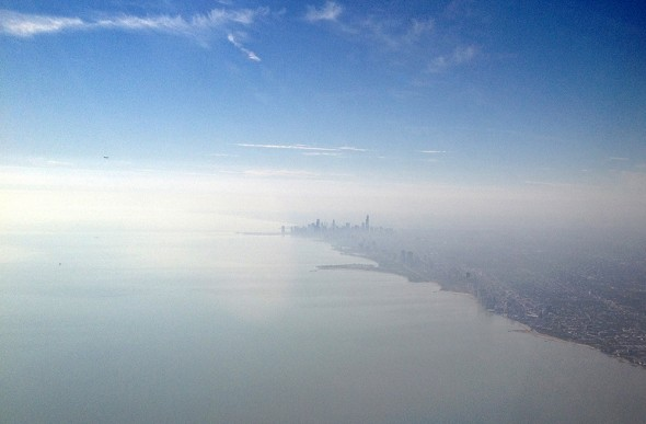 Looking south to Chicago, which sits just 29 kilometers (18 miles) northwest of the Whiting refinery.