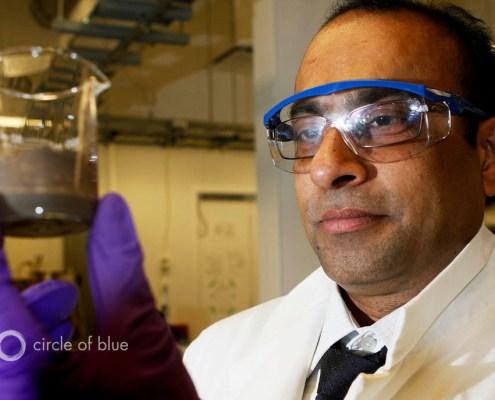 Dr. Subir Bhattacharjee in his laboratory at the University of Alberta