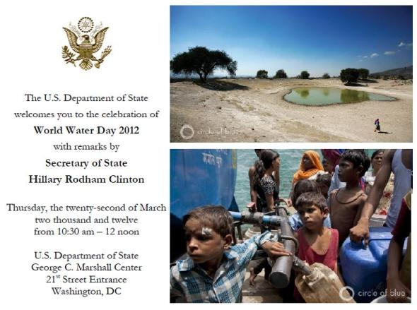 U.S. State Department Secretary of State Hillary Clinton World Water Day Circle of Blue