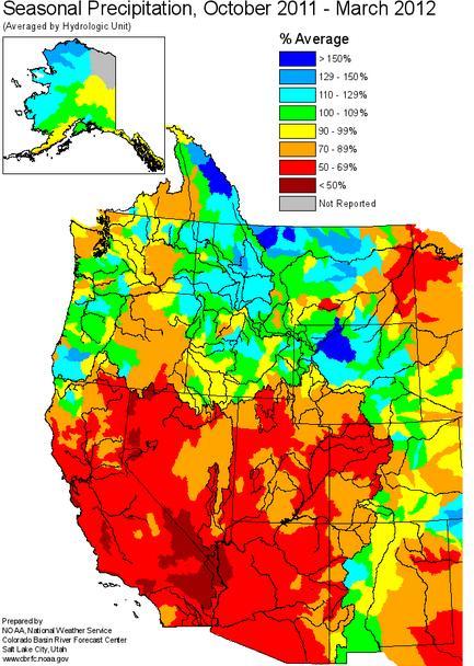 NOAA seasonal precipitation october 2011 through march 2012 national weather service american west u.s.
