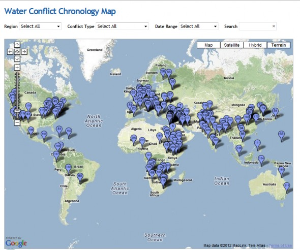 pacific institute interactive infographic world map water conflict global violence