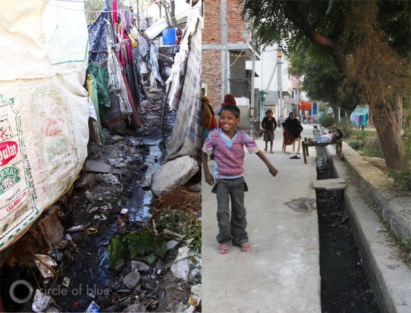 WASH India sanitation United Nations Millennium Development Goals delhi slum squatter village open sewer raw sewage