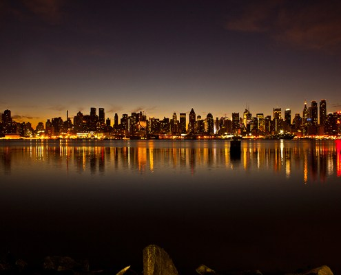 Just before sunrise, New York City's skyline is reflected in the Hudson River. The world has roughly 30 megacities, including New York, which is one of two in the United States — Los Angeles being the other. Megacities are defined as metropolitan areas with populations that are greater than 10 million.