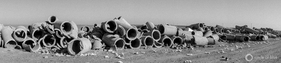Old concrete irrigation pipe in California's Central Valley.