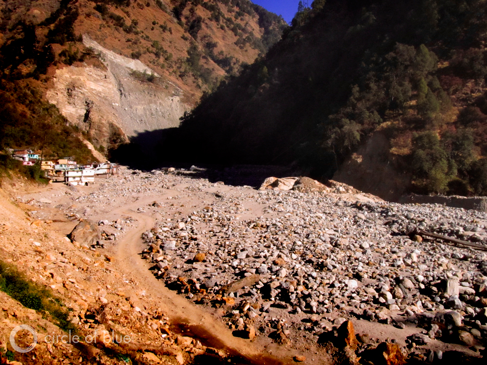 Most of Sonprayag, on the Mandakini River, was destroyed by the June flood. What's left of Sonprayag now sits directly on the Mandakini's banks. The riverbed is a new geography of immense boulders that survivors said is 250 feet higher than the channel where the river ran before the flood. Photo: Keith Schneider