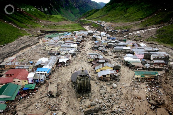 The floods on June 16 and 17 tore through Kedarnath, a sacred Hindu site high in the Himalayas. Hundreds of buiidngs in the Mandakini River floodplain were washed away. The Kedarnath temple survived, guarded by a big trailer-size boulder that washed down the mountain and lodged in front, directing flood waters and boulders around the 1,200-year-old shrine.