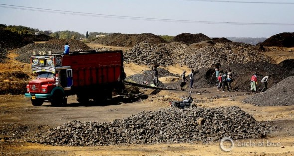 Roadsides in Meghalaya are staging areas for unloading, sorting, and loading coal on trucks that transport most of the fuel out of the state. All of the loading is done by back breaking hand labor.