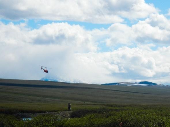 Helicopter sling load Kuparuk River Alaska Arctic