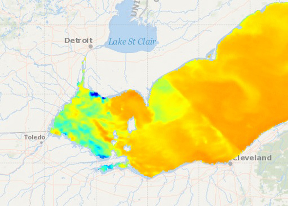 Lake Erie surface water temperature