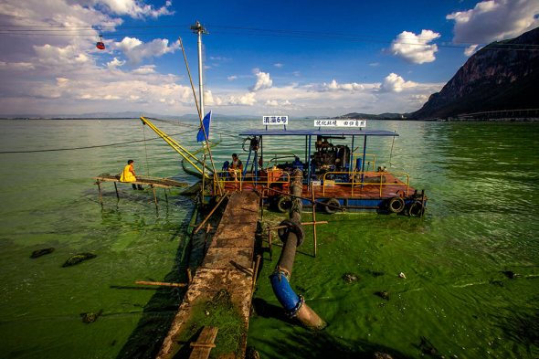 Dianchi Lake Kunming China algae removal barge