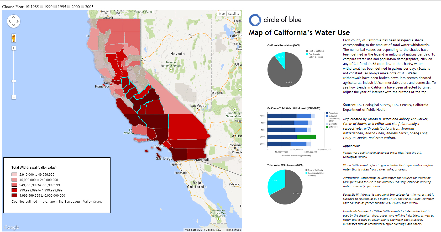 Map Californias Water Use Per County 19852005 Circle of Blue