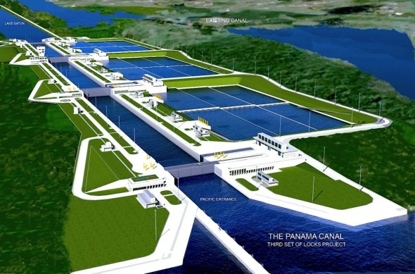 Panama Canal Authority expansion German technology water saving conservation recycle recycling storage basin lockage infrastructure shipping global trade