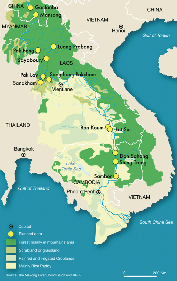 Map Infographic Lower Mekong River hydropower proposed dam development Laos Cambodia Vietnam Thailand Yiruo Zhao Circle of Blue Cody Pope