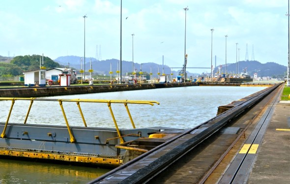 Panama Canal Mira Flores locks lockage transit infrastructure shipping global trade Keith Schneider Circle of Blue