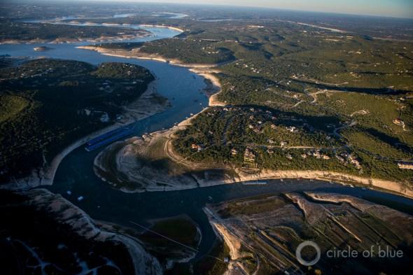Texas Lake Travis Colorado River Highland Lakes aerial photo water supply drought J. Carl Ganter Circle of Blue