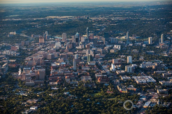 Austin Texas aerial photo downtown capital skyline