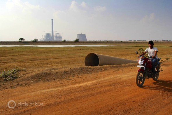 A coal-fired power plant under construction near the Mahanadi River in Chhattisgarh