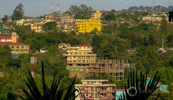 India Itanagar Arunachal Pradesh hillside city pastel buildings