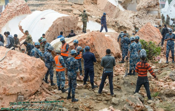 Nepal Kathmandu earthquake disaster rubble buildings collapsed infrastructure