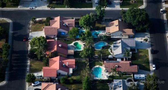 California Bakersfield pool lawn backyard aerial shot suburb urban water use