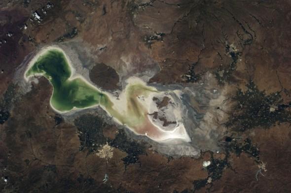 Lake Urmia shrinking drought Iran big lakes