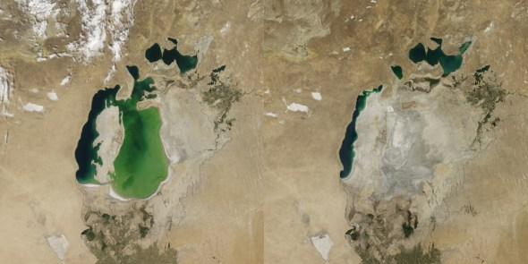 Aral Sea shrinking drought Central Asia big lakes water levels water diversions