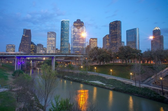 Houston skyline downtown Buffalo Bayou water infrastructure Texas SWIFT fund