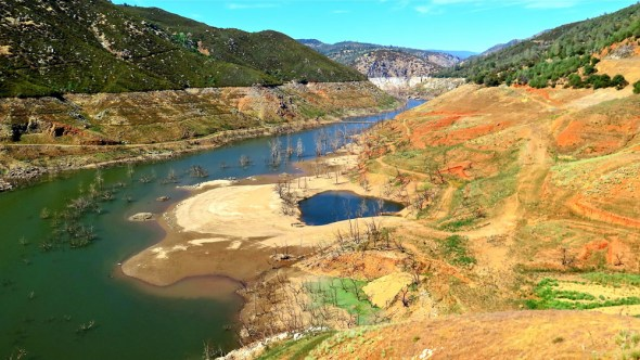 California New Melones reservoir empty centralized water supply system drought