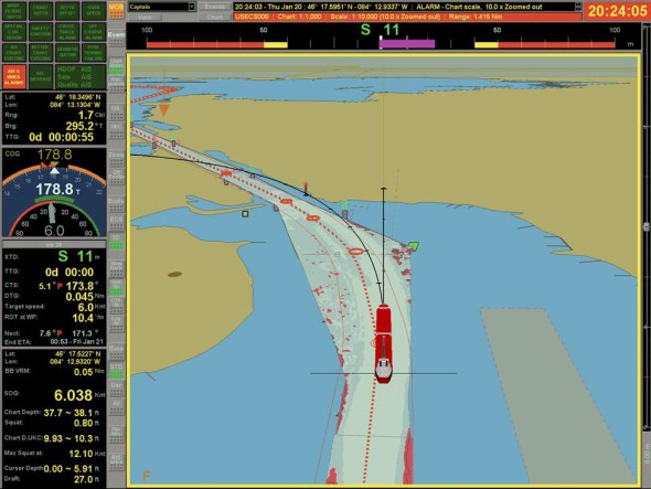 Great Lakes St. Lawrence Seaway shipping draft information system shallow water navigation